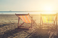 Summer beach sunset with empty couple bed travel Royalty Free Stock Photo