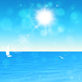 Summer beach sunshine blue background with birds and bokeh Royalty Free Stock Photos