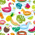 Summer beach or swimming pool seamless pattern. Vector doodle illustration of inflatable kids toys, fruits, cocktails