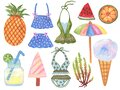 Summer beach swimware tropical and cocktail illustration in Set of summer vacation on white