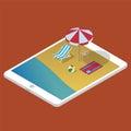 Summer beach on tablet