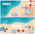 Summer beach top view vector illustration. Travel banner or flyer