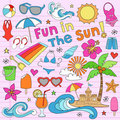 Summer Beach Vacation Doodles Vector Elements Stock Photography