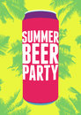 Summer Beer Party typography vintage poster. Retro vector illustration. Royalty Free Stock Photo