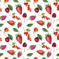 Summer berries and fruits watercolor food seamless pattern. Watercolor strawberry, cherry, redcurrant, raspberry and