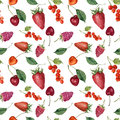 Summer berries and fruits watercolor food seamless pattern. Watercolor strawberry, cherry, redcurrant, raspberry and leaves isolat