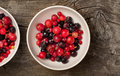 Summer berries and ice in white bowl Royalty Free Stock Photo