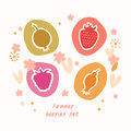 Summer berries set food icons collection doodle Stock Photos
