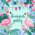 Summer birthday party greeting card, invitation with hand drawn palm leaves, orchid flowers, flamingo birds and party