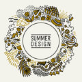 Summer black and gold hand drawn round thin line postcard. Seasonal greeting with word Summer. Doodle summer card with