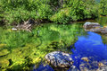 Summer blue green colors reflection wenatchee river washington rocks reflections stevens pass leavenworth Royalty Free Stock Photo