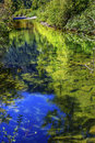 Summer blue green colors reflection wenatchee river washington rocks reflections stevens pass leavenworth Stock Photo