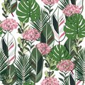 Summer botanical jungle leaves pattern, tropical seamless, hydenyear flower for fashion fabric and all prints