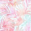 Summer botanical seamless pattern: tropical leaves, leopard spots, animal skin print in pastel gold rose pink color