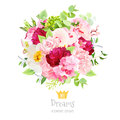 Summer bouquet of hydrangea, burgundy red peony, rose, orchid