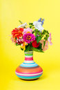 Summer bouquet on yellow Royalty Free Stock Photo