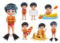 Summer boy kid vector character set. Beach boy wearing life vest and snorkeling doing beach activities