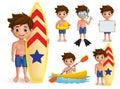 Summer boy kids vector character set. Beach boy with summer day outdoor activities like surfing