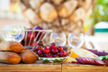 Summer breakfast in garden served the Royalty Free Stock Photo