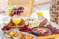 Summer breakfast in garden served the Stock Photography