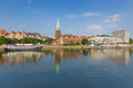 Summer bremen cityscape of over the weser river Stock Photos