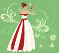 Summer Bride with Red Ribbon Royalty Free Stock Photos