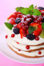 Summer cake with fresh berries Stock Photos