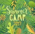 Summer camp 2019 lettering on jungle background.