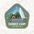 Summer camp patch. Be wild. Vector. Concept for shirt or badge, overlay, print, stamp or tee. Vintage typography design