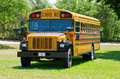 Summer camp school bus in grass field yellow is parked a with a dirt road and woods the background Royalty Free Stock Photography