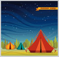 Summer camp - tourist tent at night. Royalty Free Stock Photo