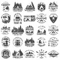 Summer camp. Vector. Concept for shirt or patch, print, stamp. Vintage typography design with rv trailer, camping tent