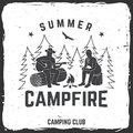 Summer campfire badge. Vector illustration. Concept for shirt or print, stamp, travel badge or tee Royalty Free Stock Photo