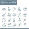 Summer camping 20 line icons set. Vector icon graphic for travel tourism Vacation: thermos, camera, flask, map, paper, guitar Royalty Free Stock Photo