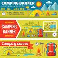 Summer camping - mountain expedition adventures - vector decorative banners set in flat style design trend Royalty Free Stock Photo