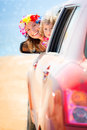 Summer car trip happy family on vacation travel concept Stock Images