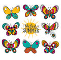 Summer card with butterflies and stylish lettering - 'the best summer'. Royalty Free Stock Photo