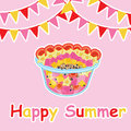 Summer card with fruit salad and colorful flag