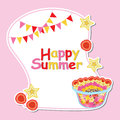 Summer card with fruit salad, star fruit and raspberry