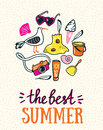 Summer card with hand drawn stylish lettering the best summer and beach things on sand bright design for poster Royalty Free Stock Photos
