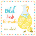 Summer card with lemonade and text. Cold Fresh Lemonade. Lemon, jug, ice and lettering.