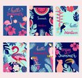 Summer card set, elements with quotes, calligraphy, flowers, birds Royalty Free Stock Photo