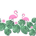 Summer card with tropical palm leaves and flamingo. Seamless tape design.