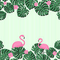 Summer card with tropical palm leaves and flamingo on stripped background. Summer design with space for text.