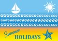 Summer card vector holiday with beach and sea Stock Images