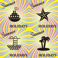 Summer card vector retro holidays with black icons Stock Photo