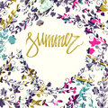 Summer card on white background with round floral frame. Floral card. Fresh summer illustration. Summer season, summer wallpaper, Royalty Free Stock Photo