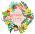 Summer Card wreath with flamingo