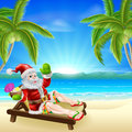 Summer christmas santa beach scene illustration of relaxing in a sun lounger on the under a palm tree with a drink and wearing Stock Photo