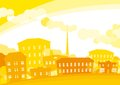 Summer city vector background of yellow horizontal format Royalty Free Stock Photo